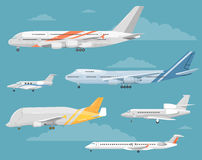 Set of Variety Aircraft Flat Style Illustrations stock illustration