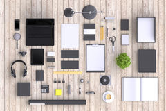 Set of variety blank office objects organized for company presentation or branding identity with blank modern devices. Mockup isolated on clear background. Top Royalty Free Stock Photo