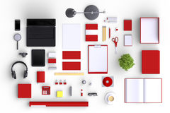 Set of variety blank office objects organized for company presentation. Or branding identity with blank modern devices. 3d illustration Stock Images