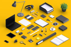 Set of variety blank office objects organized for company presentation Royalty Free Stock Photography