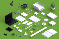 Set of variety blank office objects organized for company presentation. Or branding identity with blank modern devices. Mockup isolated in isometric Stock Photos