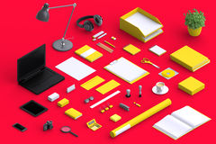 Set of variety blank office objects organized for company presentation. Or branding identity with blank modern devices. Mockup isolated in isometric Royalty Free Stock Photo