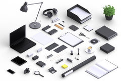Set of variety blank office objects organized for company presentation Royalty Free Stock Images