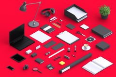 Set of variety blank office objects organized for company presentation. Or branding identity with blank modern devices. Mockup isolated in isometric Royalty Free Stock Photos