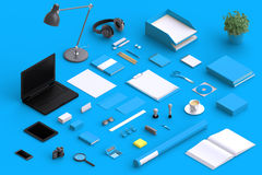 Set of variety blank office objects organized for company presentation Stock Photography