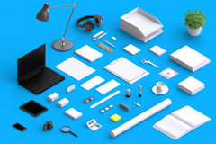 Set of variety blank office objects organized for company presentation. Or branding identity with blank modern devices. Mockup isolated in isometric Royalty Free Stock Photography