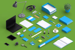 Set of variety blank office objects organized for company presentation. Or branding identity with blank modern devices. Mockup isolated in isometric Stock Image