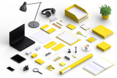 Set of variety blank office objects organized for company presentation. Or branding identity with blank modern devices. Mockup isolated in isometric Royalty Free Stock Image