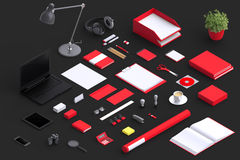 Set of variety blank office objects organized for company presentation. Or branding identity with blank modern devices. Mockup isolated in isometric Stock Photography