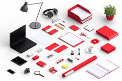Set of variety blank office objects organized for company presentation Stock Photo