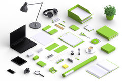 Set of variety blank office objects organized for company presentation. Or branding identity with blank modern devices. Mockup isolated in isometric Stock Images
