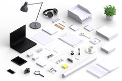 Set of variety blank office objects organized for company presentation Royalty Free Stock Photos