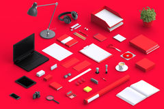 Set of variety blank office objects organized for company presentation. Or branding identity with blank modern devices. Mockup isolated in isometric Stock Photo