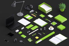 Set of variety blank office objects organized for company presentation Royalty Free Stock Image