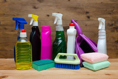 Set of variety cleaning supplies Stock Photography