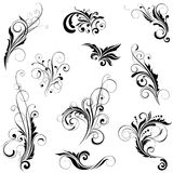 Set of variety floral designs. Set of floral variety design ornaments, black colored.Each of them group singly Royalty Free Stock Photography