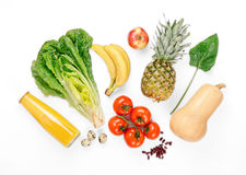 Set variety of healthy fruits and vegetables on white background Royalty Free Stock Image