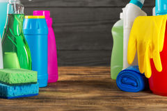 Set of variety house cleaning product on wood table Royalty Free Stock Photography