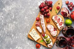 Set from a variety of snacks, Bruschetta or authentic traditional Spanish tapas, red wine and grapes on a gray background. The vie royalty free stock photos