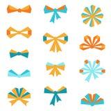 Set of various abstract bows and ribbons Royalty Free Stock Photos