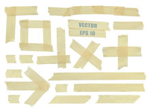 Set of various adhesive tape pieces. Stock Photo