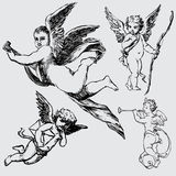 Set of various angels or cupids Royalty Free Stock Photography
