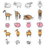 Set of various animals living on the farm Royalty Free Stock Photos