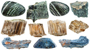 Set of various Asbestos mineral stones isolated. Set of various natural mineral stones - Asbestos (chrysotile, amosite, rhodusite, green, white, brown, blue Royalty Free Stock Image