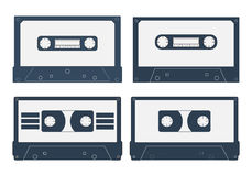 Set of various audio cassette tapes stock illustration