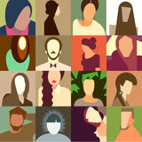 Set of various avatar faces Royalty Free Stock Images