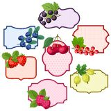 Set of various badges, labels with berries. Royalty Free Stock Image