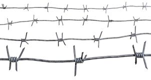 Set of various barbed wire. Isolated on white background with clipping path included stock photos