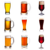Set of various beer isolated on white background Stock Photos