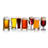 Set of various beer, isolated on a white background Royalty Free Stock Photos