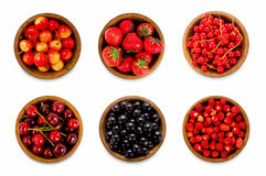 Set various berries. Strawberries, currant, cherry. Stock Image