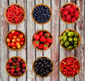 Set various berries. Strawberries, currant, cherry, raspberries, gooseberries and bilberry. Collage of different fruits and berries isolated on a wooden Stock Images