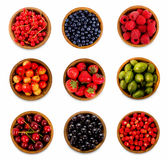 Set various berries. Strawberries, currant, cherry, raspberries, gooseberries and bilberry. Collage of different fruits and berries isolated on white. Ripe and royalty free stock image