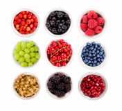 Set various berries. Strawberries, currants, raspberries, grapes, pomegranates, blueberries and blackberries. Royalty Free Stock Images