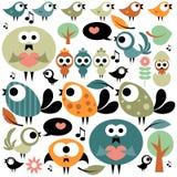 Set of various birds vector illustration