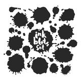 Black Inkblots Set. Set of various black blots. Hand made inky artwork. Isolated on white background. Clipping paths included vector illustration