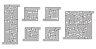 Set of various black maze game sketches. For kids' books, coloring pages Royalty Free Stock Photography