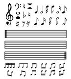 Set of various black musical note icon Stock Image