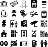 Travel and sightseeing icons. A set of various black travel and sightseeing icons isolated on white background royalty free illustration