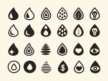 Set of Various Black Water Drop Icons on White Royalty Free Stock Photos