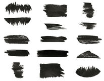 Set of various black watercolor hand paint brush strokes Royalty Free Stock Image
