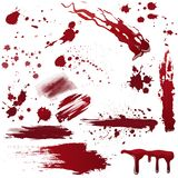 Set of various blood or paint splatters. Realistic vector illustration. Royalty Free Stock Photo