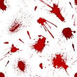 Red blood or paint splatters splash spot seamless pattern background vector illustration Stock Image