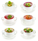 Set of various bowls of soup Stock Images