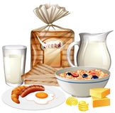 Set of various breakfast foods stock photography