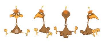 Set  Cartoon  Illustration. Cute American Condor. Cartoon Character. Set of various brown eagles with a yellow beak Stock Photography
